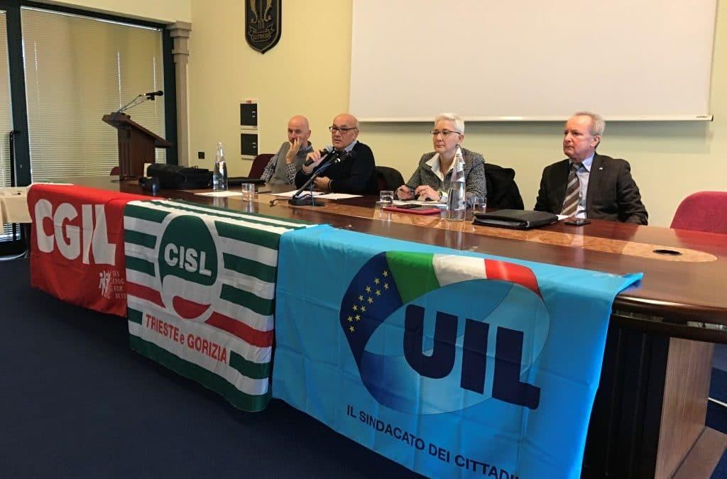 MANOVRA NON ALL'ALTEZZA DEL PAESE, SERVE UNA SCOSSA:Partita oggi da Monfalcone la campagna di CGIL, CISL e UIL in Fvg; nei prossimi giorni convocati anche gli attivi dei delegati delle province di Udine, Pordenone e Trieste.