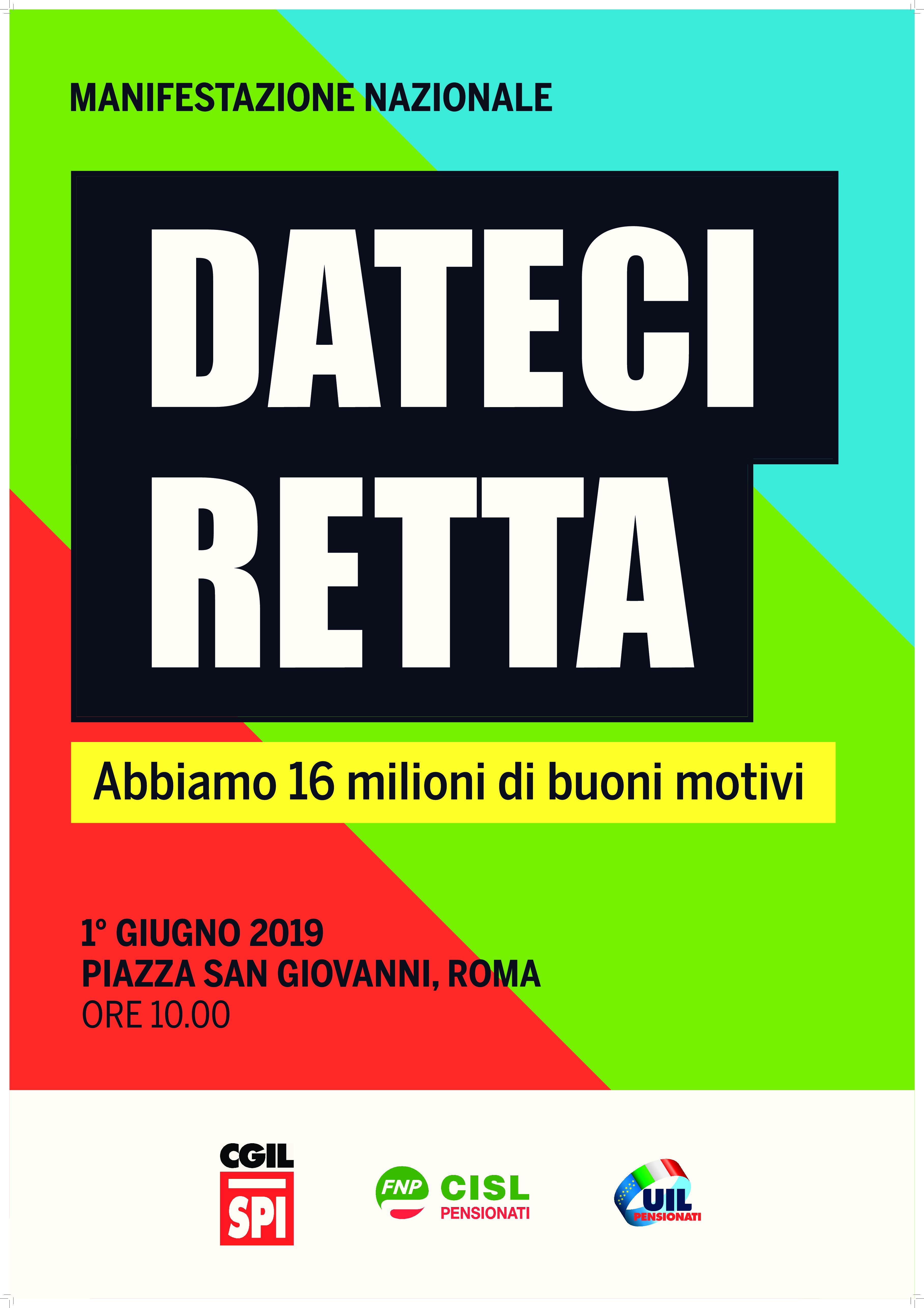 """""""DATECI RETTA"""": Pensionati in piazza a Roma per pensioni e futuro"""